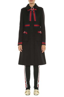 GUCCI Wool coat with web details