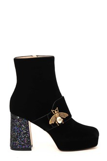 GUCCI Velvet ankle booties with bee