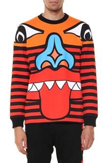 GIVENCHY sweatshirt intersia jacquard orange totem face on the front