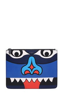 GIVENCHY large zipped pouch blue totem animaiton