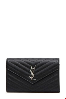 SAINT LAURENT Quilted leather 'Monogram' wallet with chain