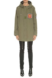 SAINT LAURENT Short parka with patches