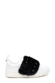 VALENTINO GARAVANI sneaker banda in pelo do viosne e borchie