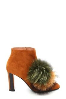 POLLINI Pom pom fur ankle boots