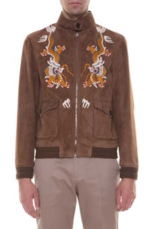 GUCCI Suede bomber jacket with embroideries