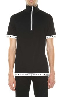 GIVENCHY Black polo shirt with branded band