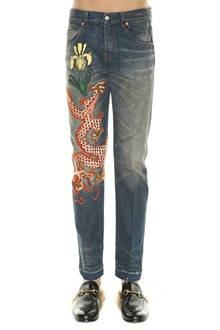 GUCCI Jjeans in stone washed denim with embroidery