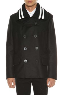 GIVENCHY Double breasted coat with knitted collar
