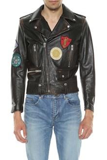 SAINT LAURENT Biker jacket with multicolor patches
