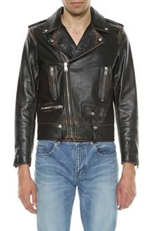 SAINT LAURENT Biker jacket with back print