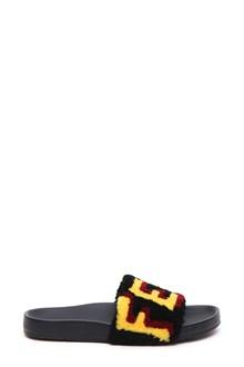 FENDI Flat sandal in leather and sheepskin