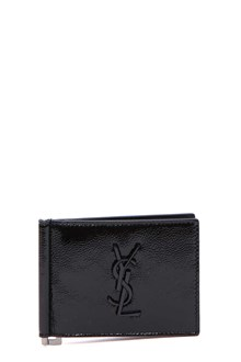 SAINT LAURENT Patent wallet with logo