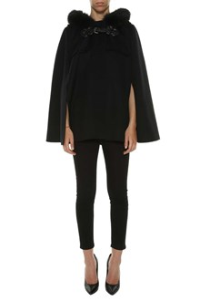 FENDI Double wool cape with fur