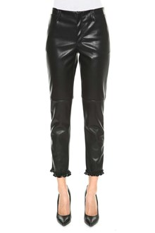 PHILOSOPHY di LORENZO SERAFINI Fake leather trousers with frill at hem