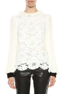 PHILOSOPHY di LORENZO SERAFINI Lace blouse with pleated chiffon sleeves