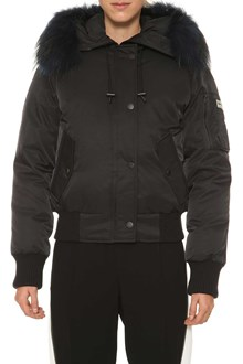 KENZO Bomber down jacket with fur at hood