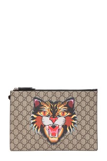 GUCCI pouch gucci bestiary t. GG supreme angry cat