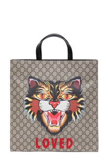 GUCCI Angry Cat print shopping bag