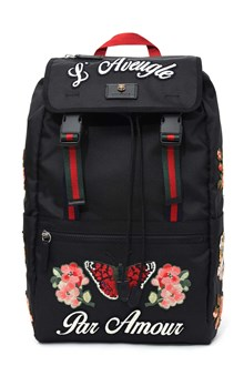 GUCCI Backpack with embroideries and 'L'Aveugle Par Amour' writing