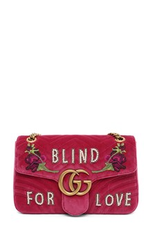 GUCCI Velvet GG Marmont with 'Blind for Love' embroidery