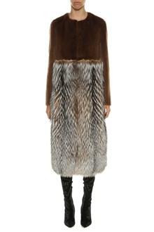 BLANCHA Shearling, mink fur and fox fur coat