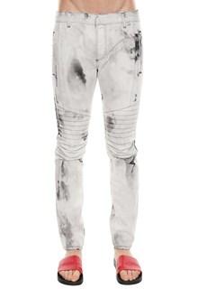 BALMAIN Biker jeans destroy bleach