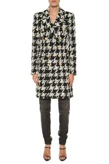 BALMAIN Pied de poule tweed coat