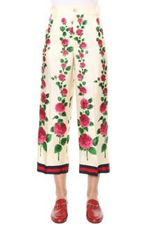 GUCCI Printed silk twill pijama pants