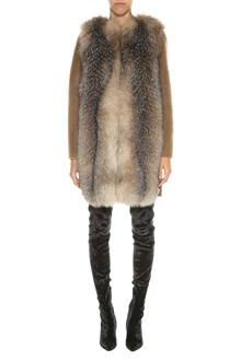 BLANCHA Shearling and fox fur short coat