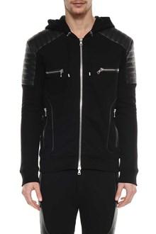 BALMAIN Jersey jacket with leather insert