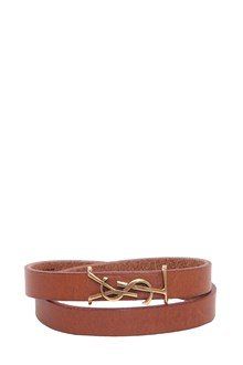 SAINT LAURENT Leather bracelet with YSL logo