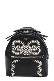 FENDI Mini backpack with embroidery and pearls