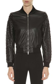 OSHUN Leather bomber jacket with studs