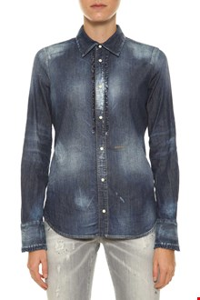 DSQUARED2 Denim shirt with ruffle