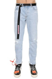OFF-WHITE low crotch 5 pochets bleach denim with belt Temperature