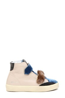 LEATHER CROWN sneaker high country+pitone+fur