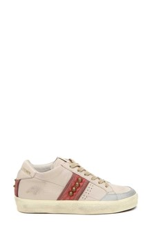 LEATHER CROWN sneaker country+velluto+suede +stud