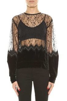 NOIR KEI NINOMIYA Lace and velvet top