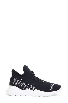 FENDI Knit and leather sneaker