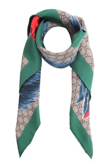 GUCCI Twill foulard web wolf 90x90