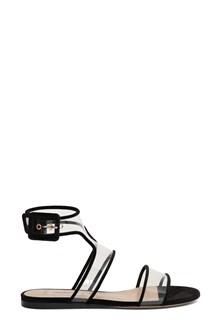 VALENTINO GARAVANI Velvet and PVC Romantic flat sandals