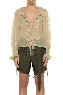 SAINT LAURENT Polka dots blouse with ruffles