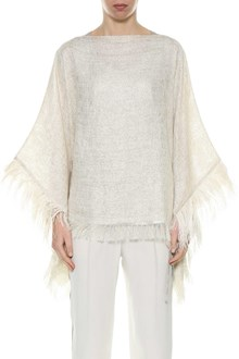 BRUNELLO CUCINELLI Poncho with feathers