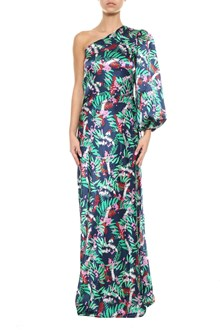 SALONI Lily one shoulder long printed silk dress