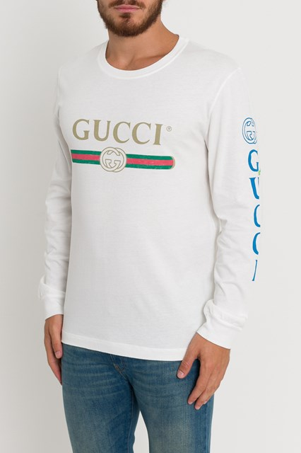 814b6d2a8fd9 GUCCI Dragon-Embroidered Cotton Long-Sleeve Tee