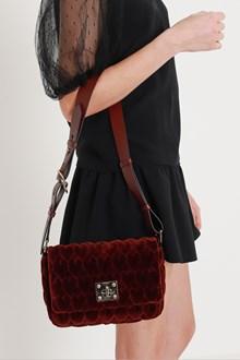 RED VALENTINO borsa a spalla in velluto con matelassè cuori