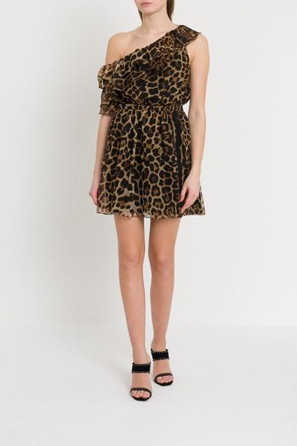 7e13ce84bd7 Women One-shoulder dress with leopard print disponibile su ...