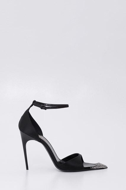 f800ef7c246 SAINT LAURENT Edwige peep toe pumps in satin decorated wuith crystals