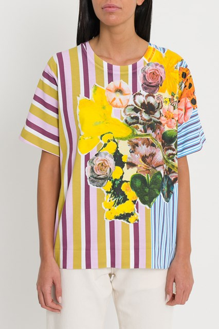 d186047b Women Floral striped T-shirt disponibile su gaudenziboutique.com