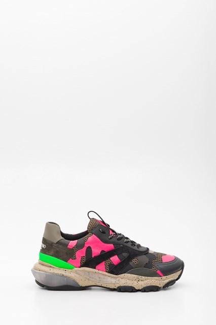 d86f0d161f0b8 VALENTINO GARAVANI Camouflage Bounce sneaker in fluorescent nappa and  fabric.